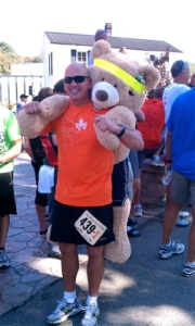 Costumes and props were half the fun. This lucky bear was carried the whole way to the finish line.