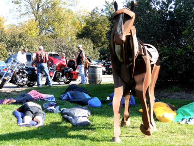 Runners in The Bourbon Chase get some sleep on the ground at Woodford Reserve before the last leg of the race.