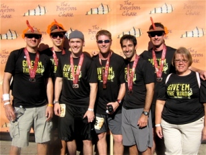 This is a post-race photo of my van-mates from Wild Turkey's Team Give 'Em The Bird: (from left) Urban Llama, Cameron Talley, Ben Coleman, Daniel Williams, David Gold, Jonathan Jewel, Sheila Fint.