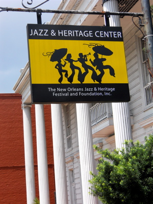 Outside the Jazz Fest headquarters.