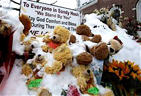 A teddy bear memorial in the snow marks the pain continuing to be felt in Newtown, Conn.