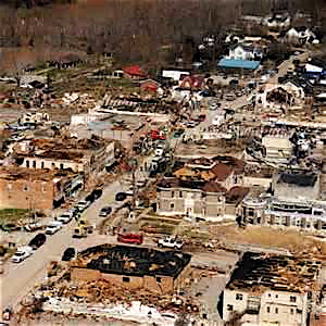 The remains of West Liberty after the EF3 tornados hit in March.