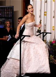 Louisville native Jennifer Lawrence after winning her Best Actress Oscar.