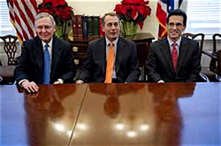 Chief obstructionists in charge, from left: Wynken (Mitch McConnell), Blynken (John Boehner, and Nod (Eric Cantor).