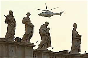 Benedict's helicopter as it departs Vatican City Thursday.