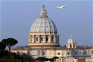 The pope's helicopter flies past St. Peter's Basilica in Vatican City as Benedict heads into retirement.