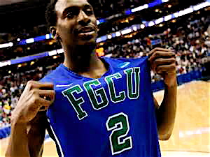 Florida Gulf Coast guard Bernard Thompson is letting everyone know his team has arrived.