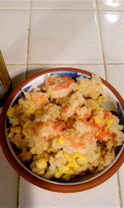 The finished product: Sweet Corn & Shrimp Risotto.
