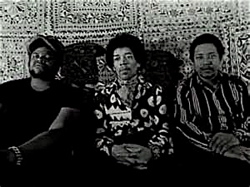 Band of Gypsys, from left Buddy Miles, Hendrix and Billy Cox.