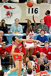 Keith Smart hitting the game winning shot in 1987 with three seconds remaining.