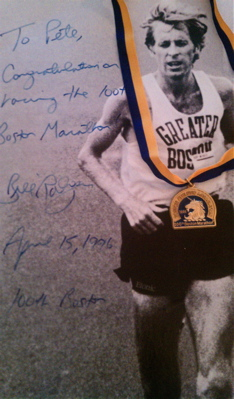 The great Bill Rodgers, four time winner of Boston and New York, who gave me some tips for running Boston while injured.