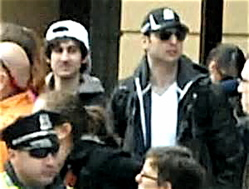 A surveillance photo of the two bombing suspects, l to r, Dzhokhar Tsarnaev and Tamerlan Tsarnaev.