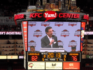 Coach Pitino thanking the fans.