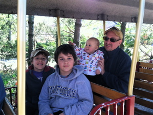 Taking the zoo train.