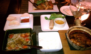 Clay-pot catfish, Tamarind broth, Imperial Rolls, and Japanese Eggplant.