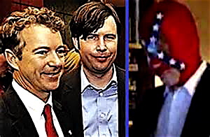 Jack Hunter with his boss Sen. Rand Paul, and wearing his mask as the Southern Avenger.