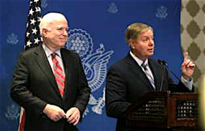 International foreign policy thinker, Sen. John McCain (R-AZ) on the left, and Sen. Lindsey Graham (R-SC).
