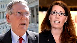 Sen. Mitch McConnell (R-KY), and his likely Democratic re-election opponent Alison Lundergan Grimes.