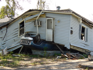 A common scene in the Lower 9th Ward of New Orleans after Katrina.