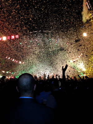 Glitter and confetti filled the air at the Arcade Fire show in Louisville.