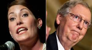 To the left is Senate challenger Alison Lundergan Grimes, and to the right is Sen. Mitch McConnell.