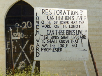 Outside a church in the Ninth Ward of New Orleans in 2005.