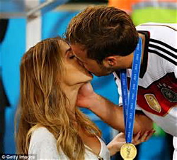 Gotze's goal is worth a victory kiss from his lingerie-model girlfriend, Ann-Katherin Brommel.