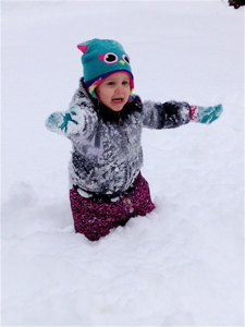 Isabella was an intrepid snow adventurer today, even if she couldn't move her legs much.