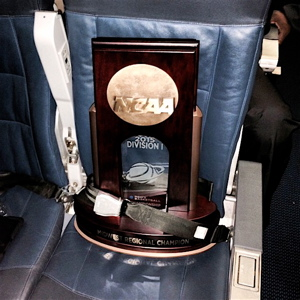 Kentucky's Midwest Region Championship trophy gets a secure flight home to Lexington.