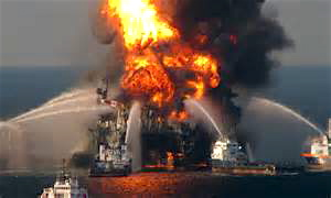 The Deepwater Horizon oil platform burning off the coast of Louisiana before it sank into the Gulf of Mexico.