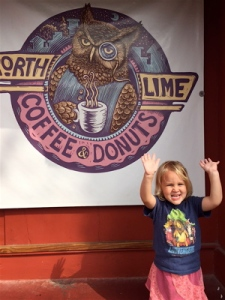 "My daughter Bella says, ""raise the roof"" to N. Lime's donuts and chocolate milk."