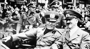 "Benito ""Il Duce"" Mussolini (left) with Hitler. Not the power duo you want to be quoting."