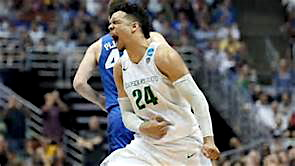 Dillon Brooks celebrates a big night where he scored 22 points, had 5 rebounds and 6 assists.