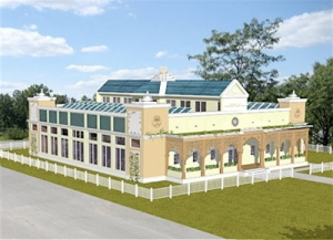 An architect's rendering of the Sustainable Living Center at Maharishi University of Management in Fairfield, Iowa.