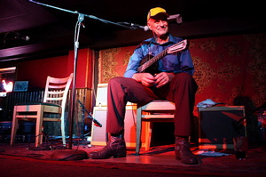 Joe Price surveying the sold-out crowd at the Mill in Iowa City.